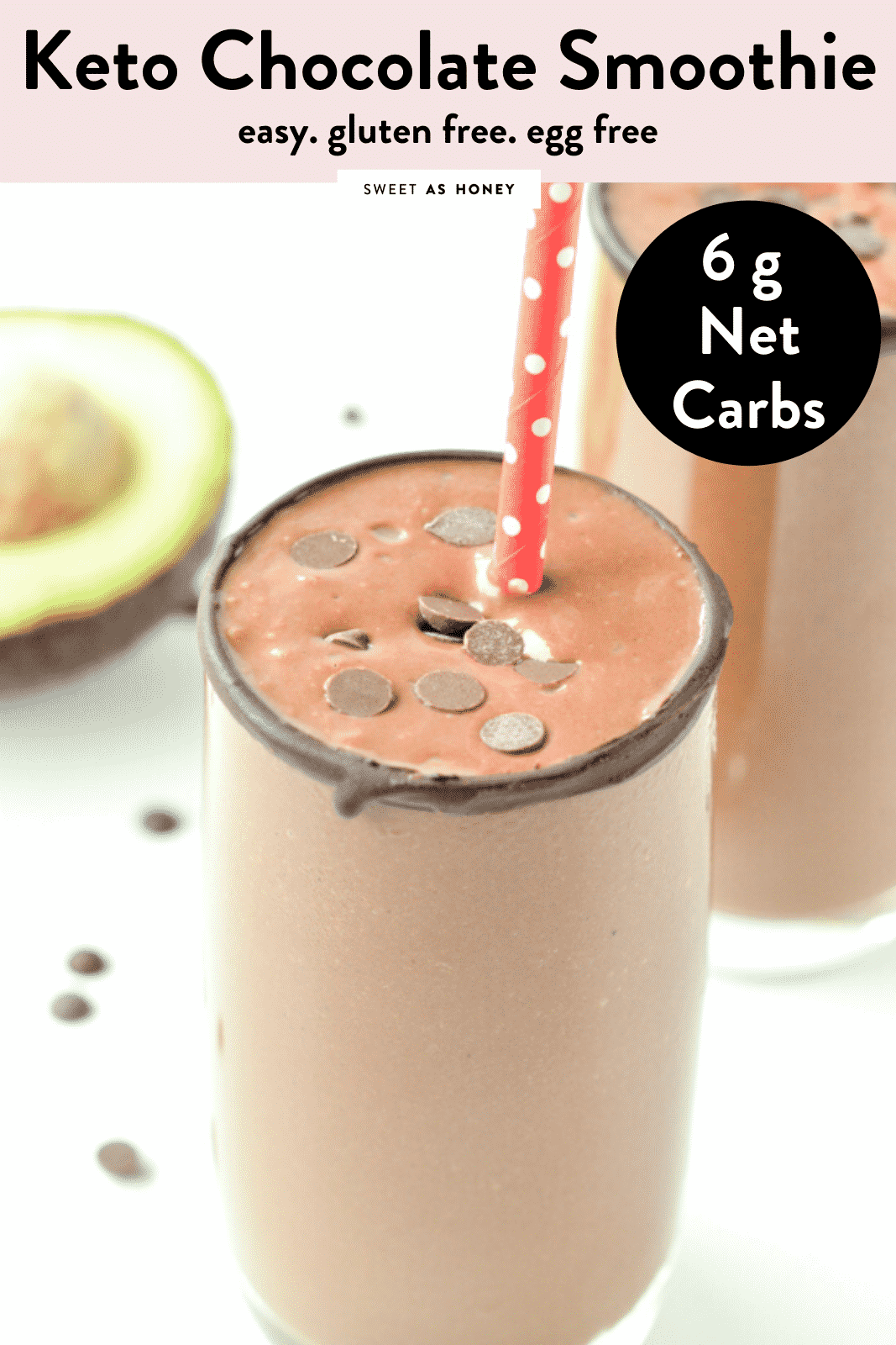 KETO CHOCOLATE AVOCADO SMOOTHIE An healthy keto avocado smoothie, dairy free using almond milk and of course no banana! #chocolateavocadosmoothie #ketochocolateavocadosmoothie #healthychocolateavocadosmoothie #healthy #easy #chocolate #avocado #nobanana #lowcarb #forkids #protein #vegan #breakfast