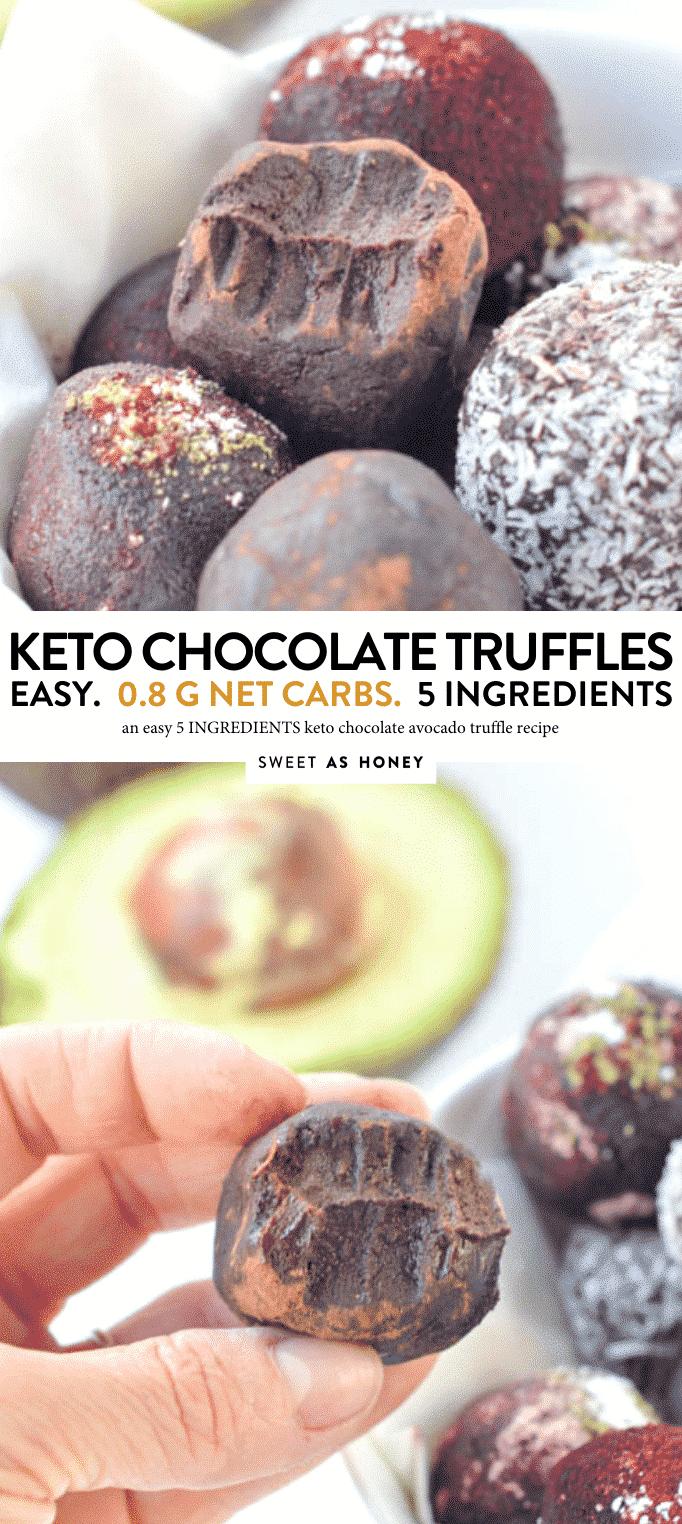 KETO AVOCADO CHOCOLATE TRUFFLES #keto #truffles #chocolate #avocado #fatbomb #zerocarb #nocarbs #snacks #desserts #vegan #easy #healthy