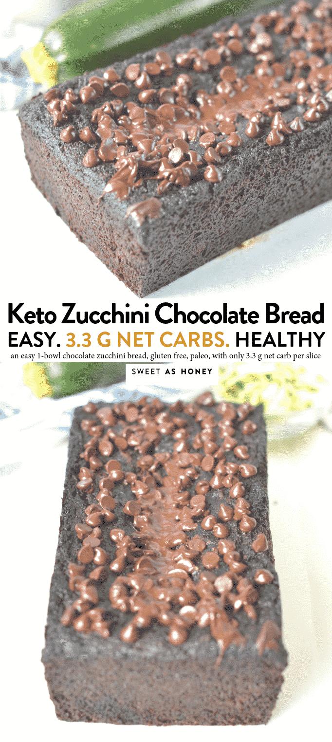 KETO CHOCOLATE ZUCCHINI BREAD only 3.3 g net carbs #ketobread #keto #chocolate #zucchini #chocolatezucchini #glutenfree #easy #healthy #paleo #ketodesserts #ketobaking #ketorecipes #lowcarb