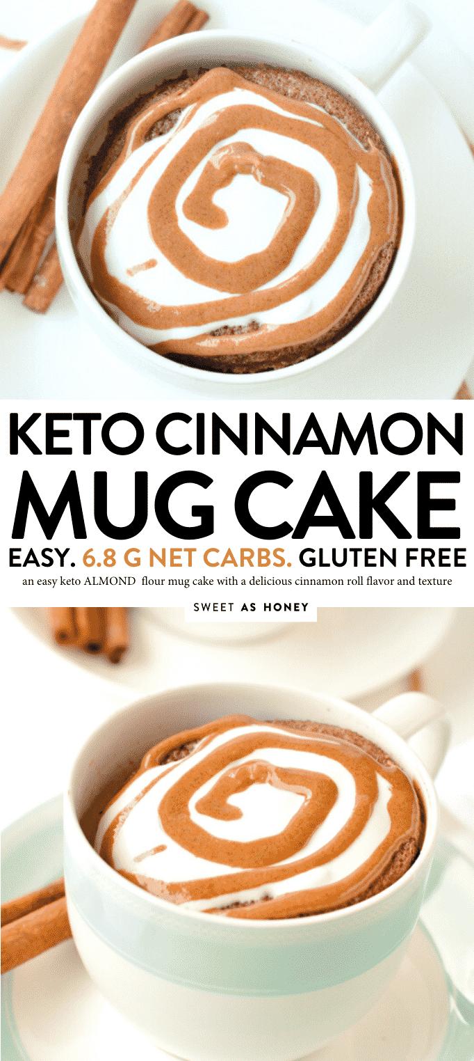 "KETO  cinnamon mug cake with almond flour, 90 seconds microwae recipe. Keto mug cake taste like a cinnamon roll in a mug. #ketomugcakes #lowcarbmugcakes #mugcake #microwave #cinnamon #ketorecipes"""