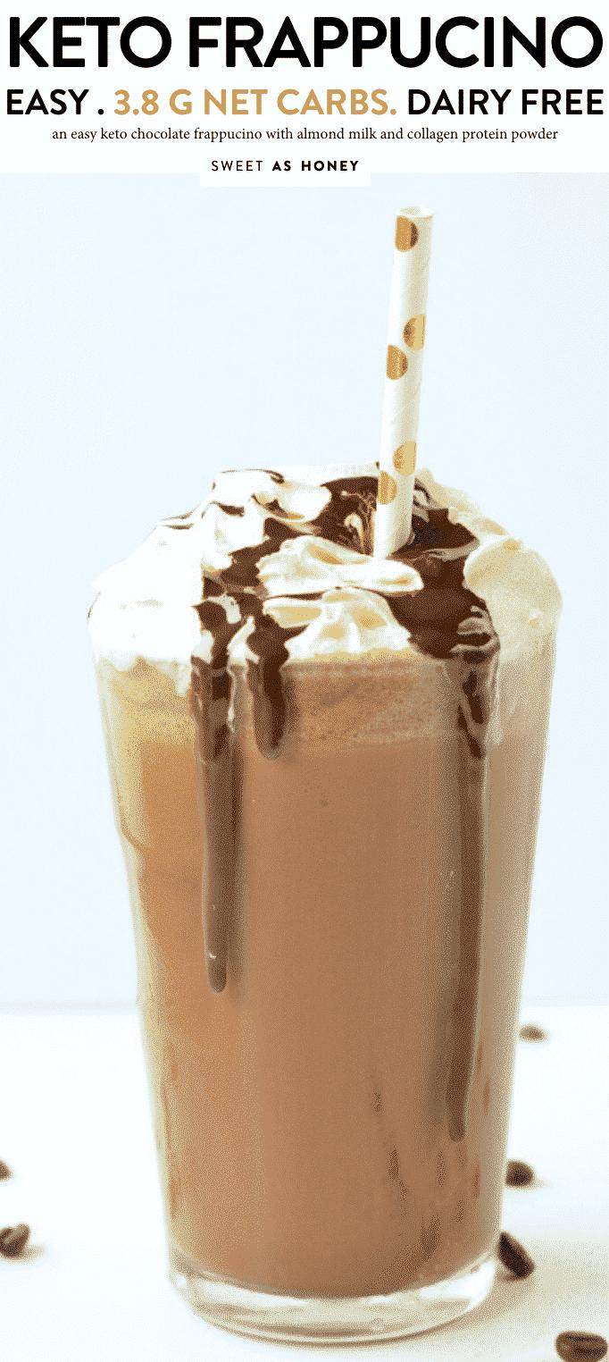 KETO CHOCOLATE FRAPPUCINO Easy, DIY almond milk frappucino, 3.8 G NET CARB grande size #keto #ketofrappucino #chocolate #frappucino #easy #sugarfree #healthy #lowcarb #paleo #copycat #paleo #vegan #dairyfree #collagen #protein #drinks #ketocollagen