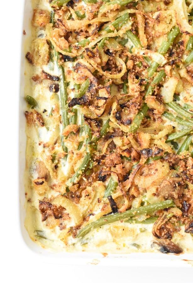 Keto green bean casserole with crispy onion rings