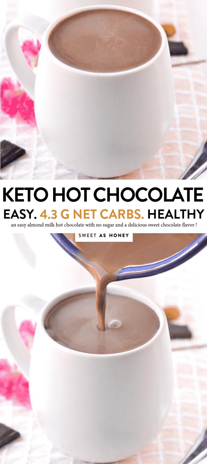 KETO HOT CHOCOLATE a comforting drink with only 4 g net carbs #ketohotchocolate #keto #chocolate #hot #cocoa #hotcocoa #homemade #dairyfree #almondmilk #sugarfree #lowcarb #paleo #heavycream #easy #bulletproof #best