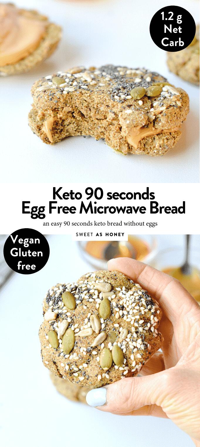 KETO 90 SEC MICROWAVE BREAD NO EGGS #ketobread #90seconds #90sec #microwavebread #easy #microwave#veganbread #veganketo #ketovegan #keto #easy #healthy #flaxseed