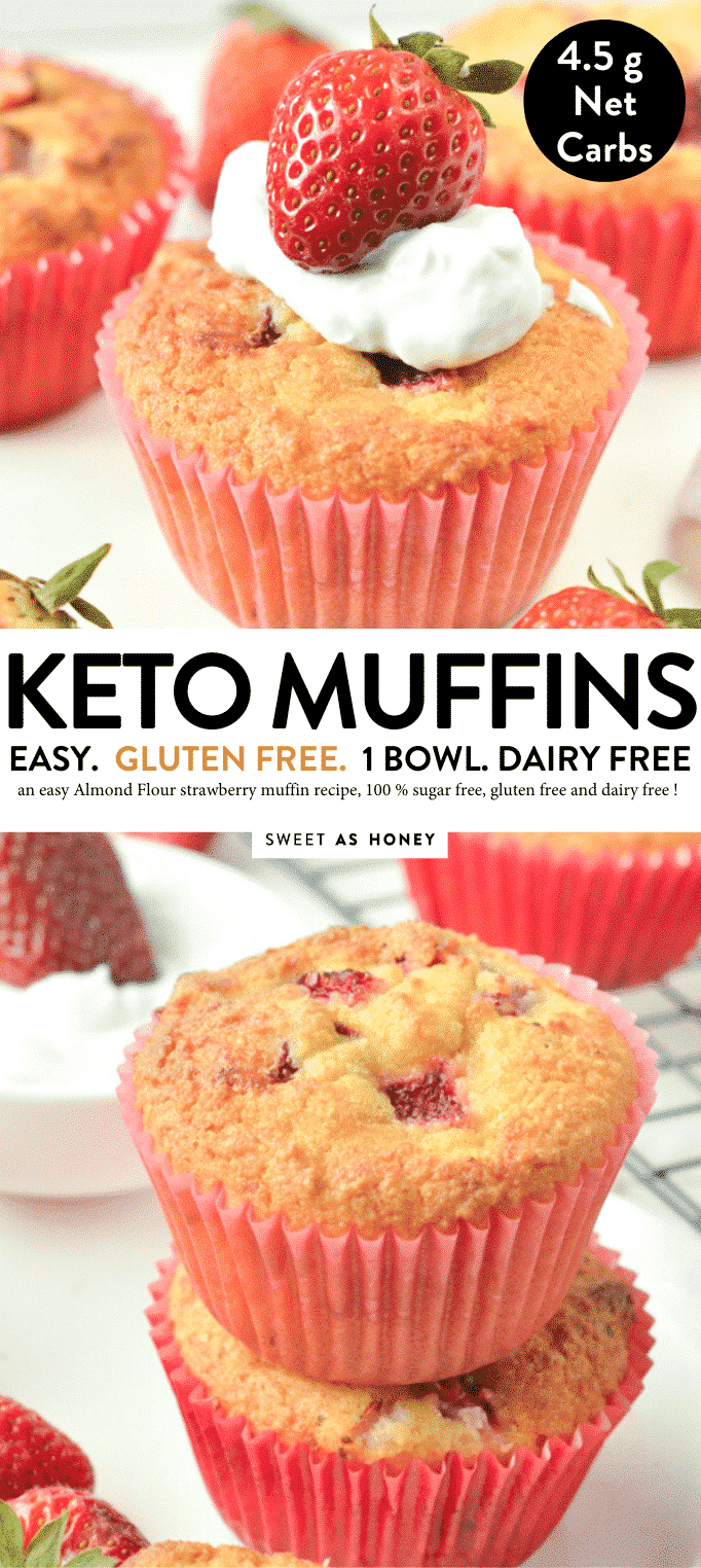 EASY KETO STRAWBERRY MUFFINS with almond flour #ketomuffins #keto #lowcarb #glutenfree #eas #healthy #ketogenicdiet #breakfast #almond #strawberry #almondflour