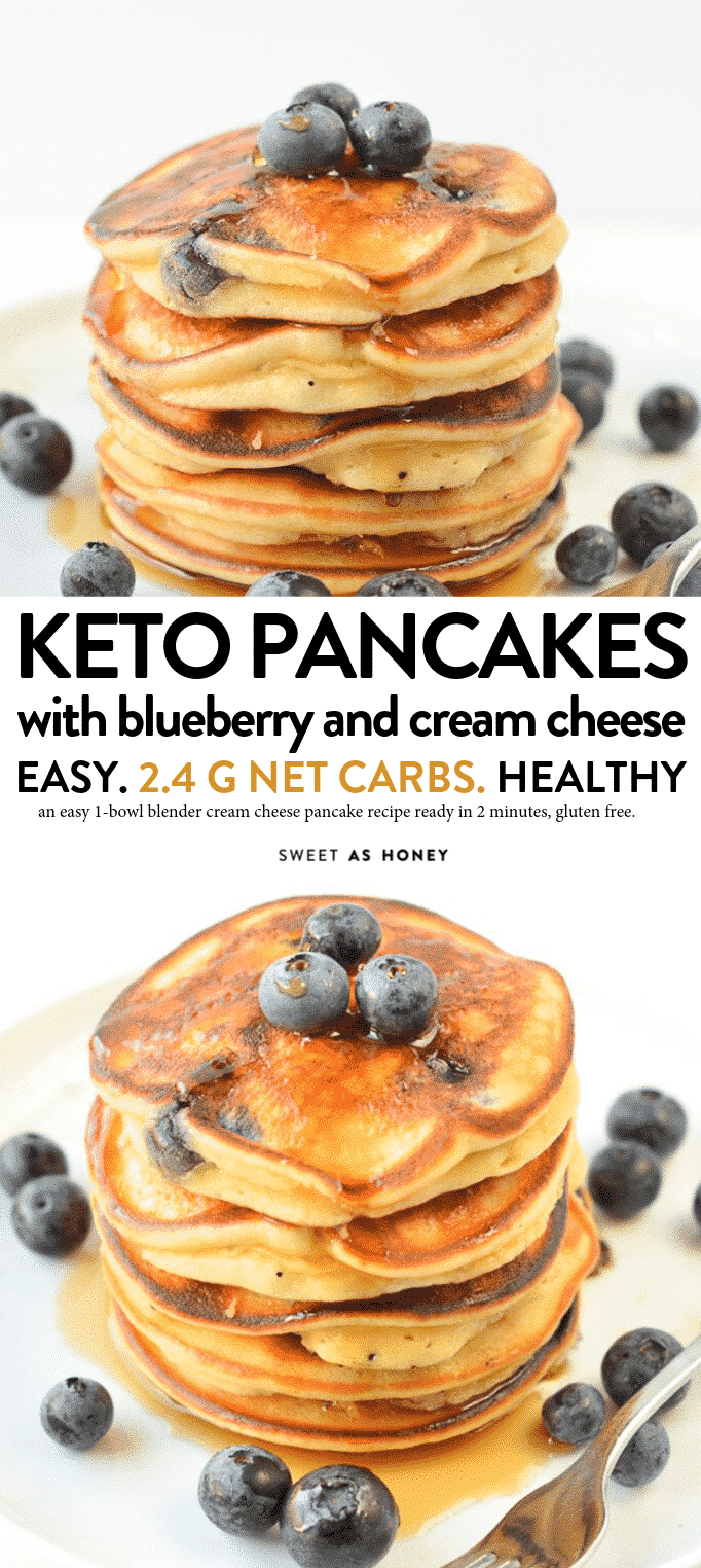 KETO BLUEBERRY PANCAKES with Cream Cheese 2.4 g net carbs, fluffy, easy 6 ingredients #ketopancakes #keto #pancakes #lowcarbpancakes #lowcarb #creamcheese #almondflour #easy #blender #healthy # fluffy #glutenfree #best #almond #ketones #ketorecipes #lowcarbrecipes #breakfast