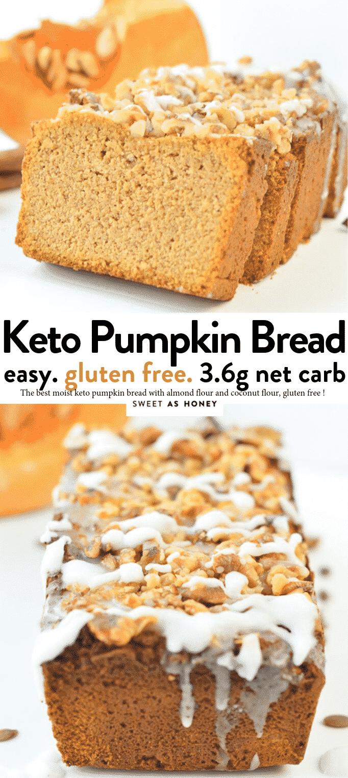 KETO PUMPKIN BREAD with almond flour, easy moist, gluten free #ketopumpkinbread #pumpkin #bread #keto #best #easy #healthy #glutenfree #moist #best #coconutflour #paleo #dairyfree #sugarfree #video