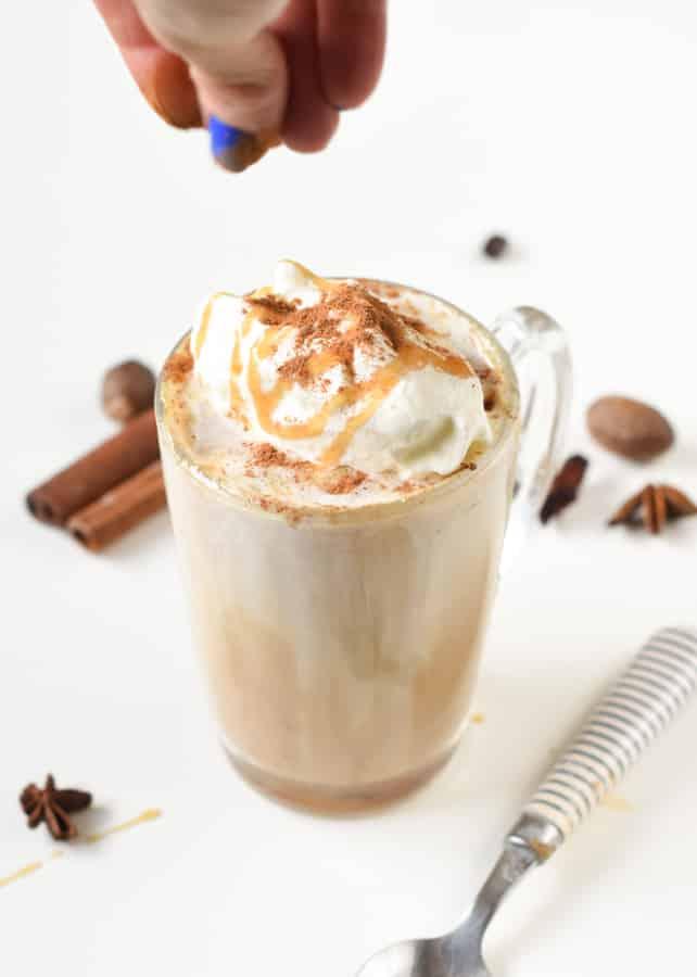 Keto pumpkin latte with almond milk