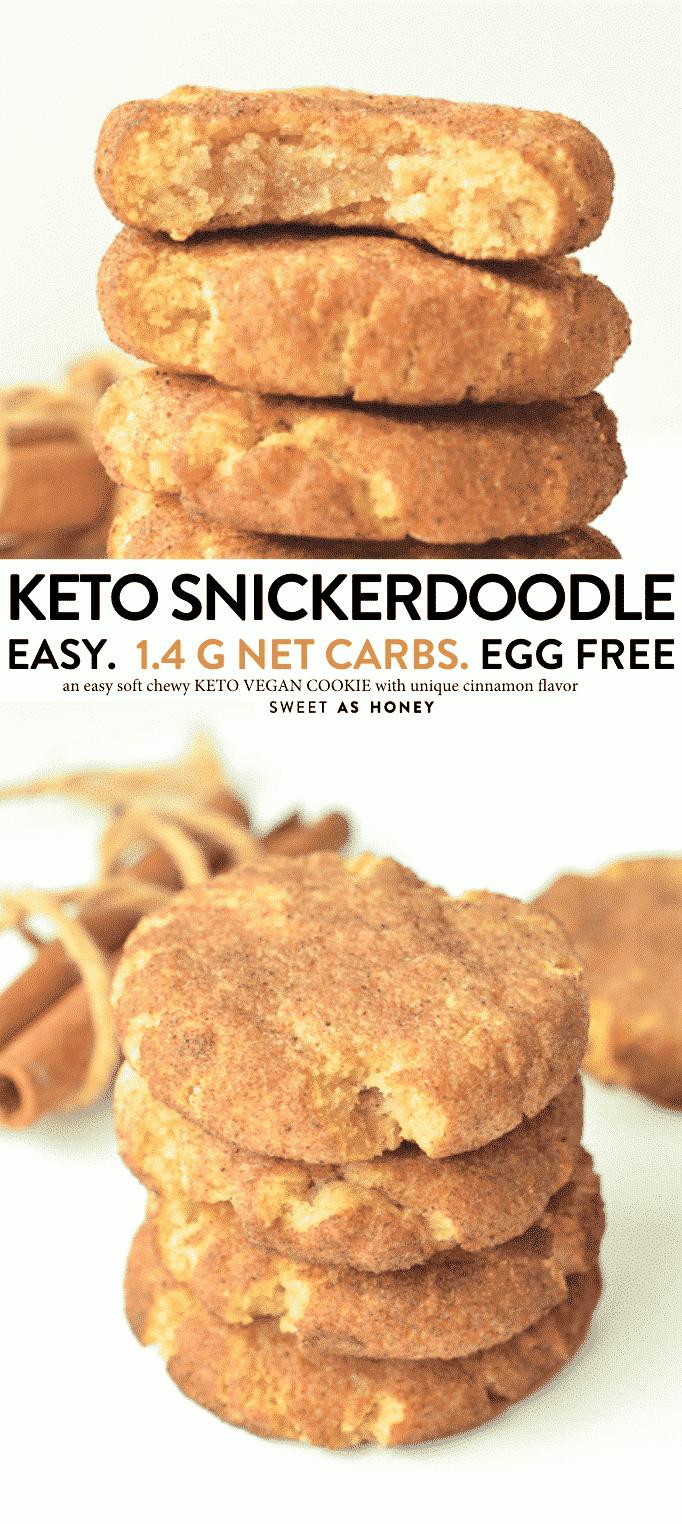 KETO SNICKERDOODLE COOKIES with coconut flour #ketocookies #snickerdoodles #snickerdoodle #lowcarbcookies #keto #sugarfree #vegancookies #vegan #eggfree #coconutflour #almondflour #recipe #ketobaking