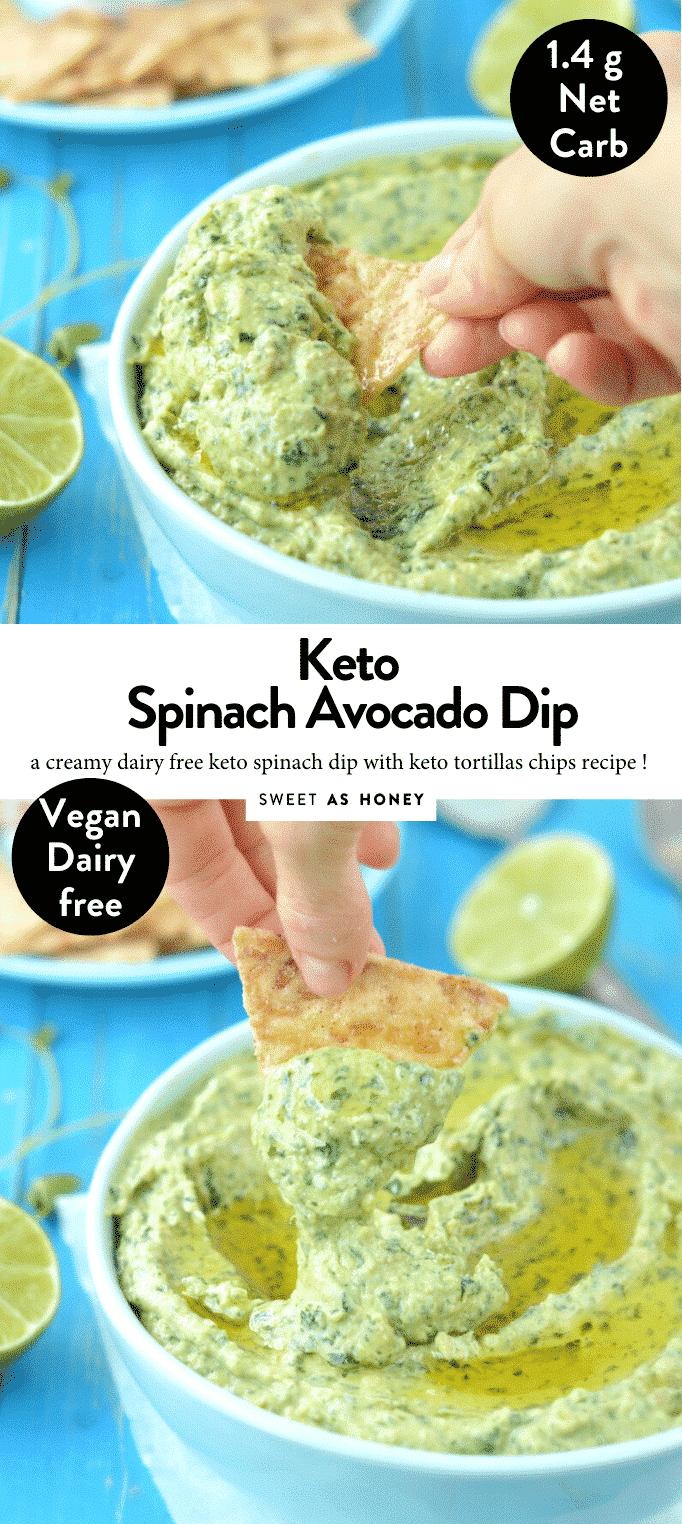 KETO SPINACH AVOCADO DIP #ketspinachdip #lowcarbspinachdip #healthyspinachdip #paleospinachdip #paleodip #veganketo #ketoappetizers #ketodip #ketorecipes #keto #appetizers #avocadodip #avocado