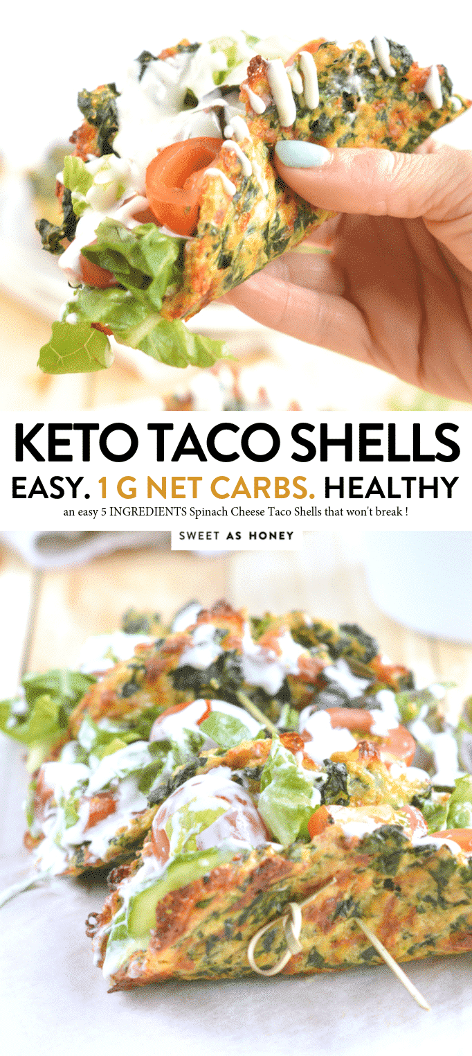 KETO CHEESE TACO SHELLS with Spinach, 1 g net carb #cheesetacoshells #ketotacoshells #ketorecipes #ketodiet""