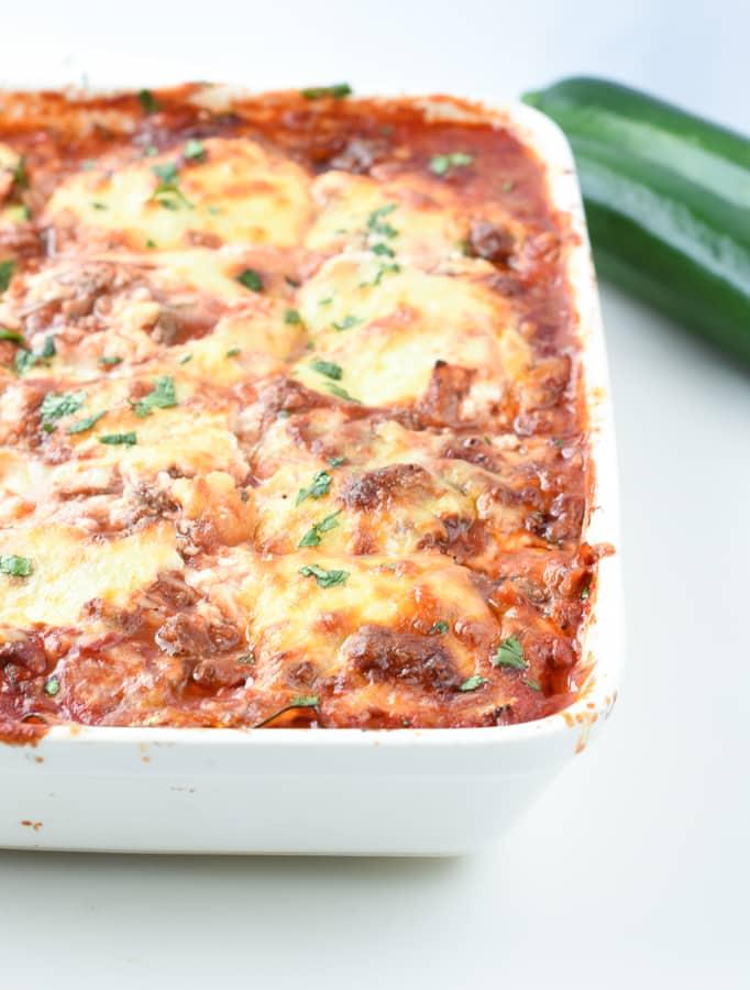 Keto zucchini lasagna cheesy