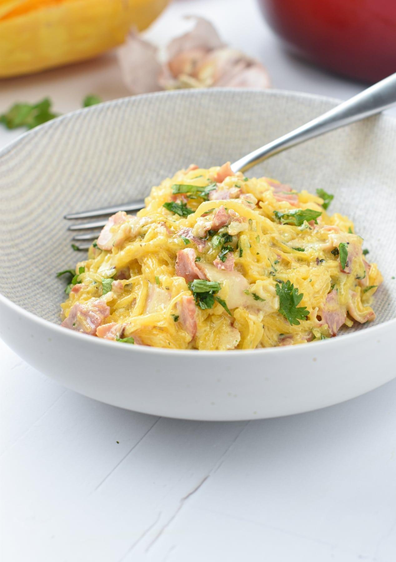 Low Carb Carbonara Spaghetti Squash