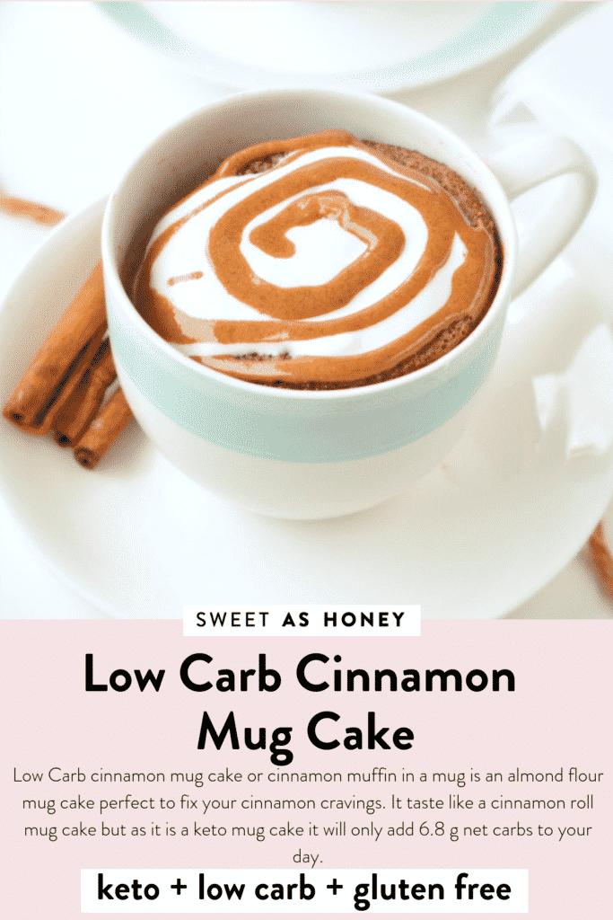 Low carb cinnamon mug cake