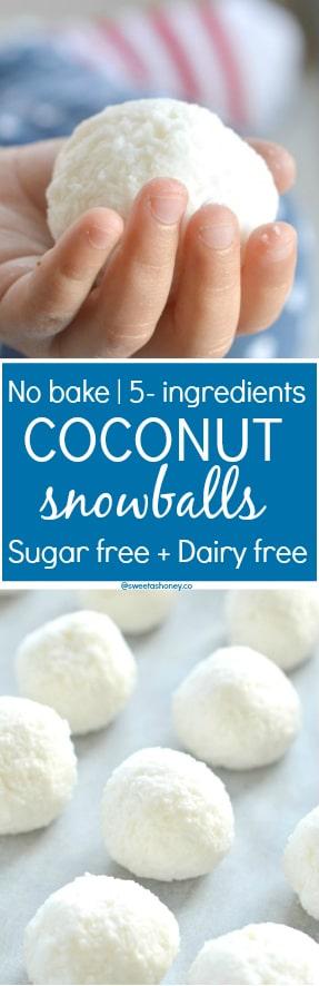 No Bake Coconut Snowballs Sugar free