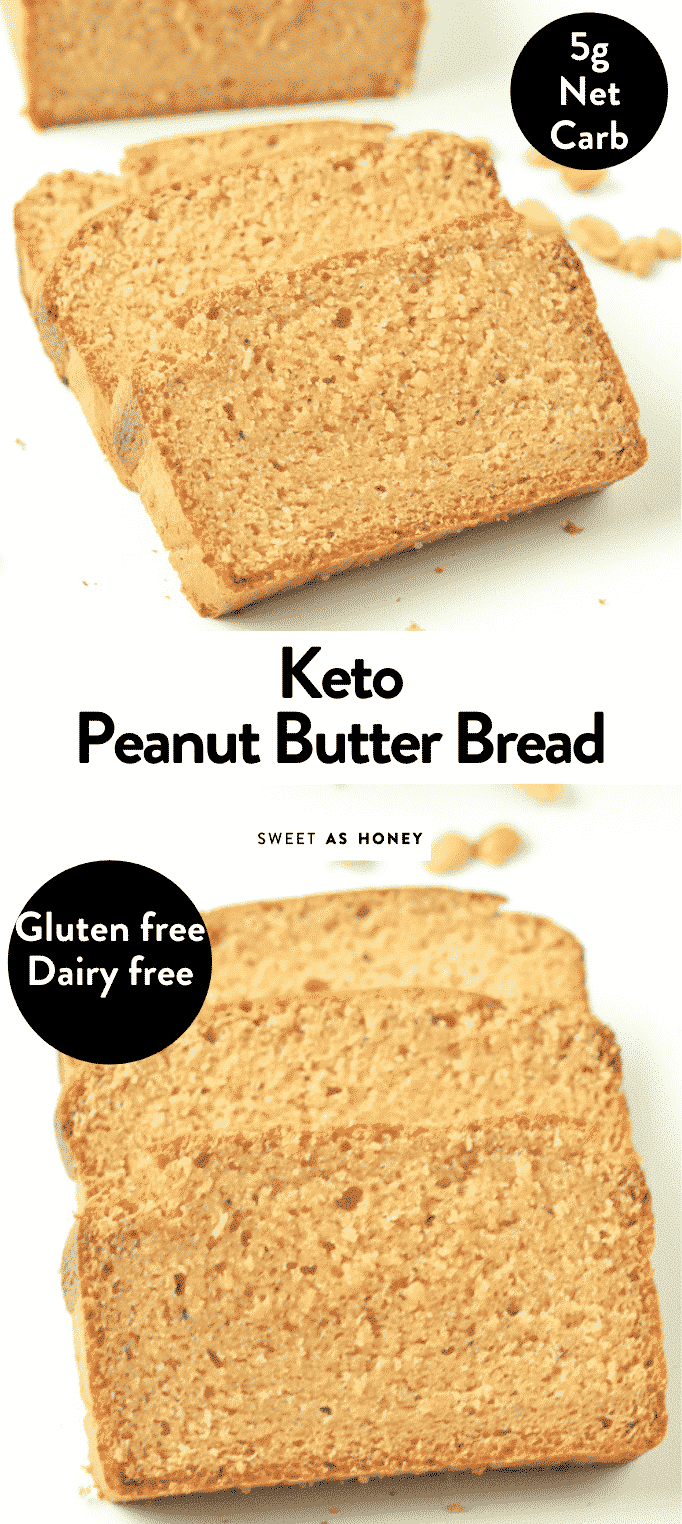KETO PEANUT BUTTER BREAD is a healthy moist keto bread with only 5 grams net carb per slice. #peanutbutterbread #ketobread #keto #moist #easy #healthy #peanutbutter #bread #lowcarb #glutenfree #simple #ketorecipes #ketobreakfast #lowcarbbread #ketones #ketolifestyle #ketofood