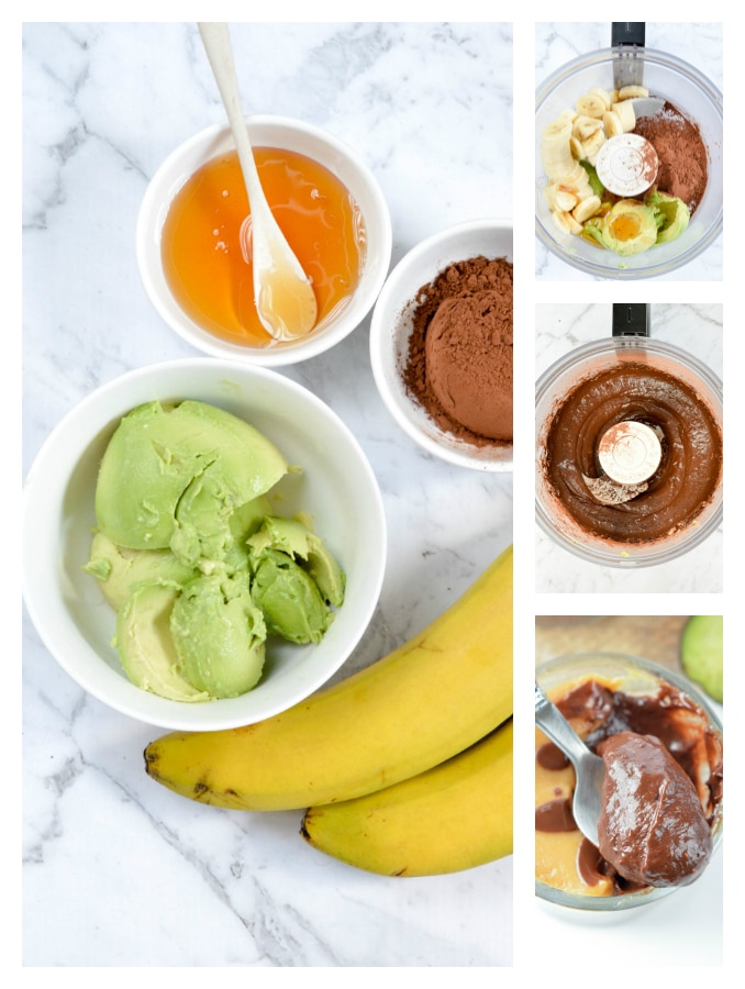 Avocado Banana Chocolate Mousse - an easy 4 ingredients healthy dessert recipe with a chocolate pudding texture. 100% Vegan, Paleo, gluten free.