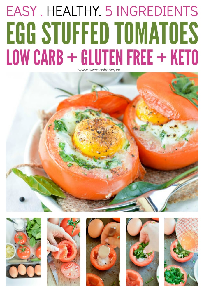 Low carb egg stuffed tomatoes with spinach and cheese. Delicious dinners or healthy breakfast recipes 100% gluten free and keto friendly. #lowcarb #keto #breakfast #egg