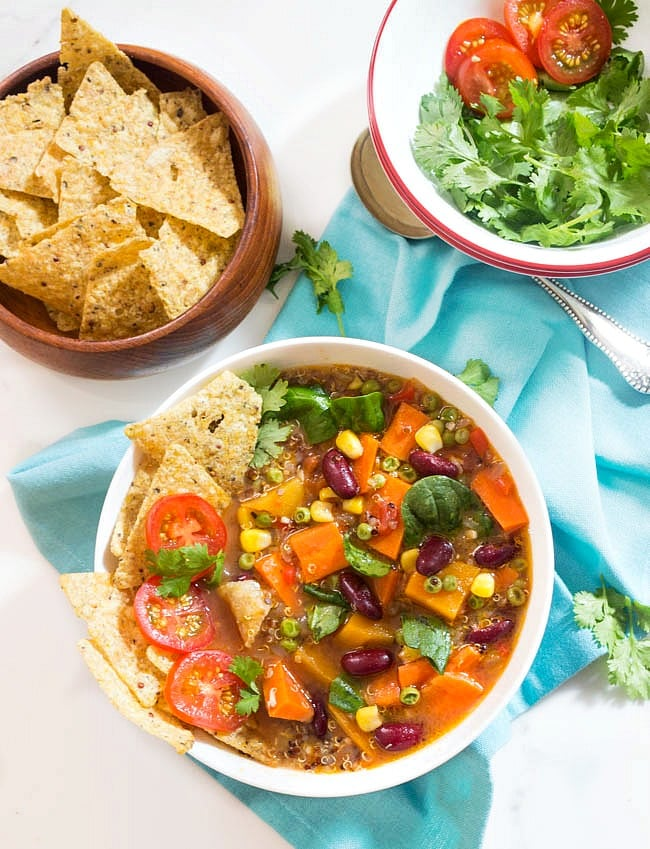 Vegetable Quinoa Soup with spinach and beans