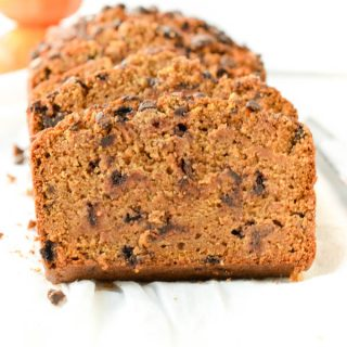 You''ll love this Moist and Healthy Vegan Pumpkin Bread recipe with flax meal, almond milk, coconut sugar and it is 100% gluten free, no egg. A delicious clean eating recipe for breakfast. Spice up your morning with this easy and healthy fall recipe! You won't regret it.