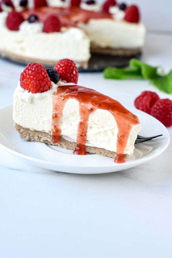 Slice of No-bake Cheesecake
