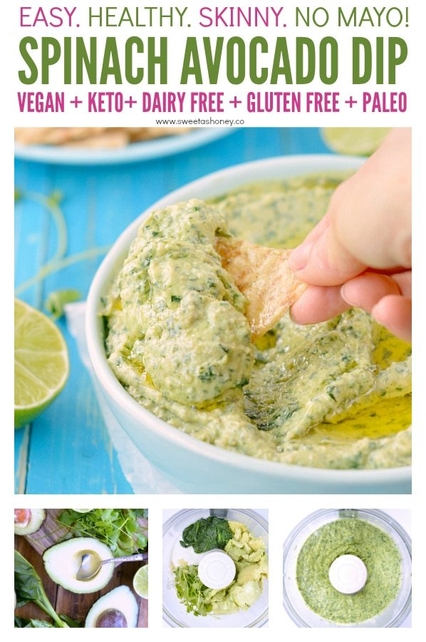 Spinach avocado dip vegan keto