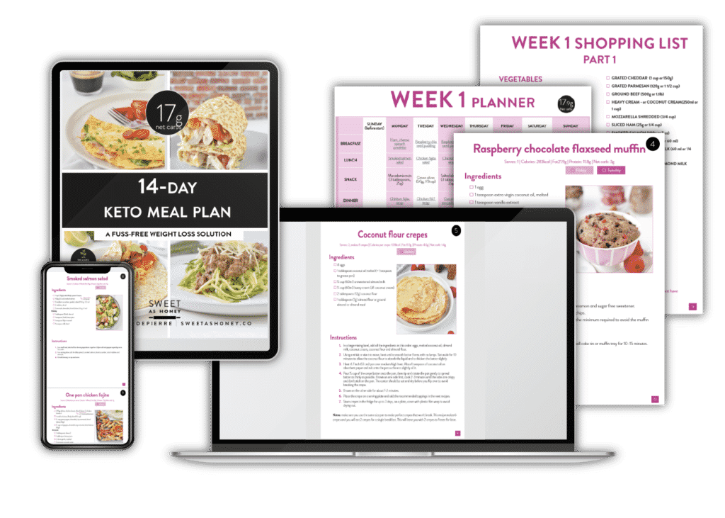 Different views of the 14-day Keto Meal Plan