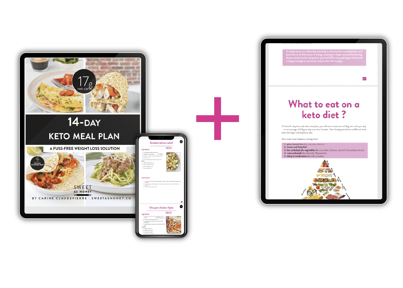 Tablet and Mobile views of the 14-day Keto Meal Plan Bundle