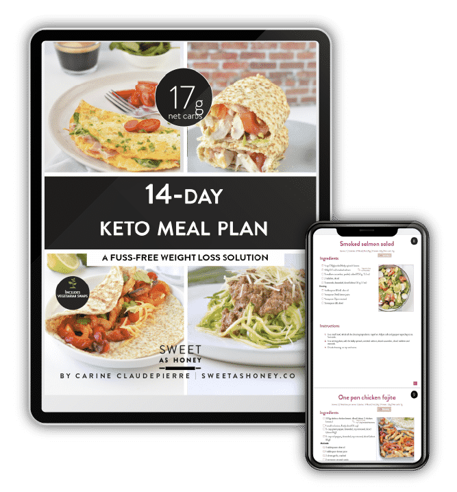 Tablet and Mobile views of the 14-day Keto Meal Plan