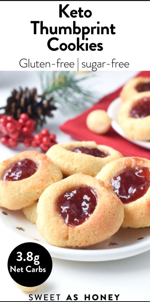 Keto thumbprint with raspberry jam