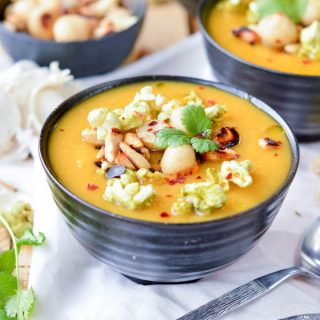 Healthy Creamy Winter Vegetable Soup with Cabbage and Sweet Potato. An easy paleo and vegan soup with almond milk. Perfect comfort food dinner.
