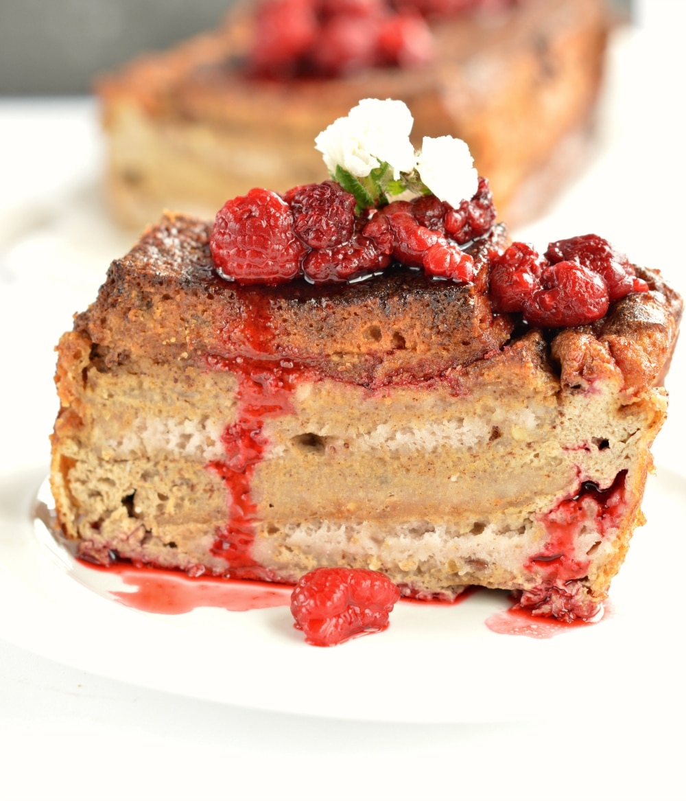 baked french toast with raspberry