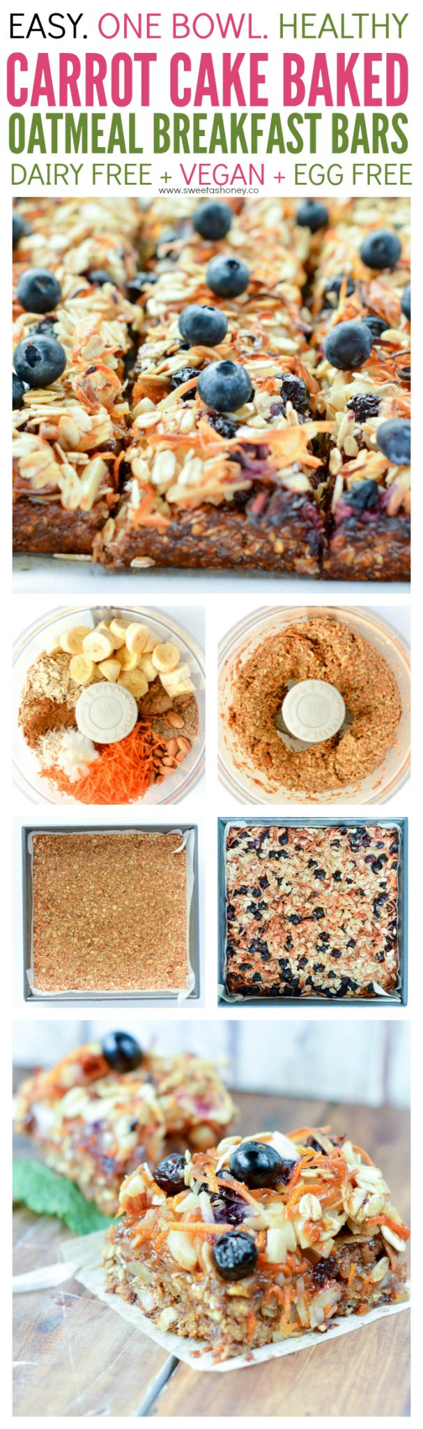 Carrot Cake Oatmeal Breakfast Bars are super easy and healthy. A 10 minutes blender recipe, 100% vegan, full of plant based protein from almonds, flaxseeds, oats, almond butter and sweet banana and blueberry. A great homemade on-the-go breakfast bar.