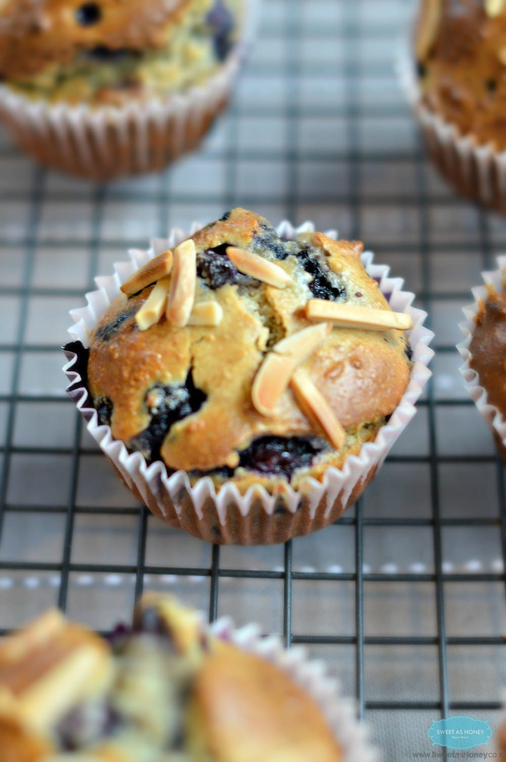 Blueberry and Almond Muffins - SWEETASHONEY