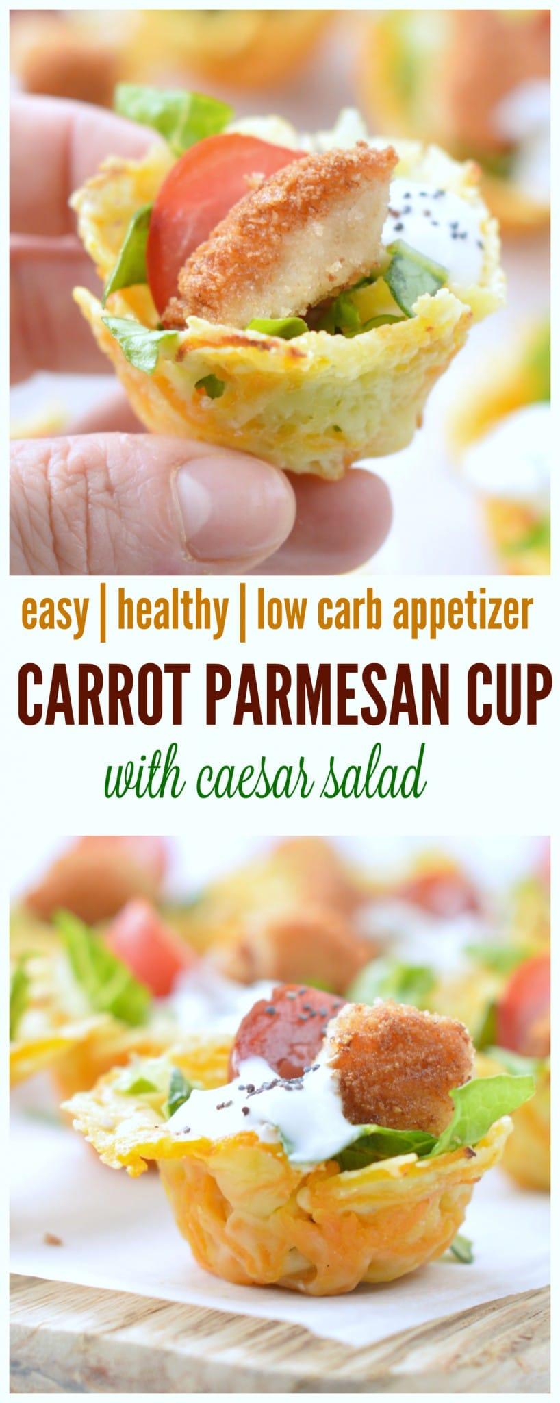 caesar salad in low carb carrot parmesan cups