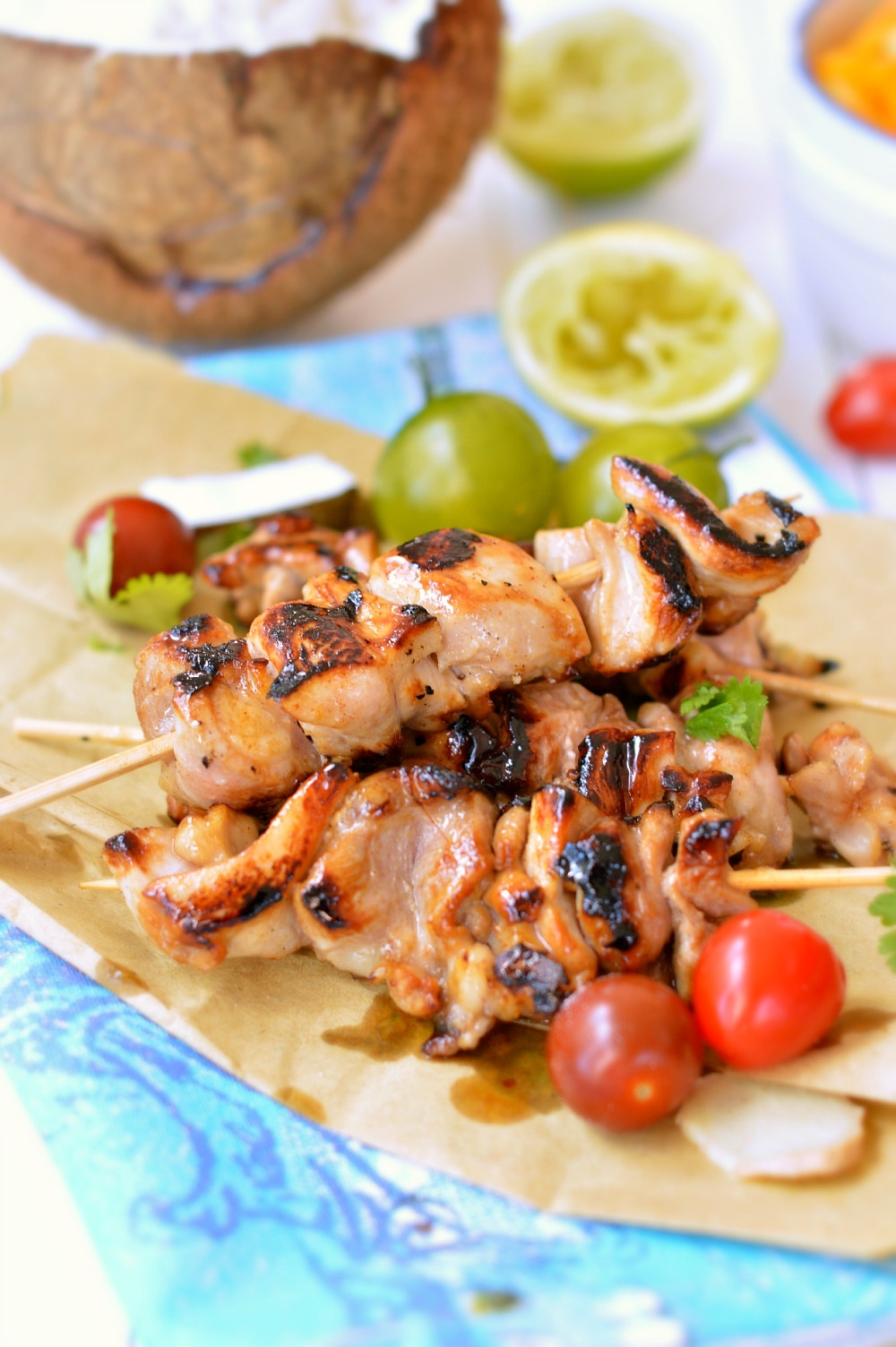 Coconut and Lime chicken skewers with coconut rice