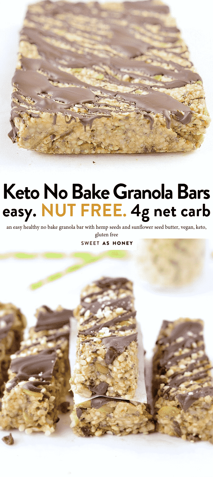KETO GRANOLA BARS - easy chewy no-bake hemp seeds bars 100 % Nut Free + Grain Free + Vegan with only 4.4 net carbs and 11 g protein per bars. #nobake #ketorecipes #ketogenicrecipes #ketobreakfast #ketogranolabars #granolabars #seedbars #hempseedsbars #hempseed #nutfreebars #nutfreegranolabars #lowcarbrecipes #lowcarbbreakfast #lowcarbgranolabars