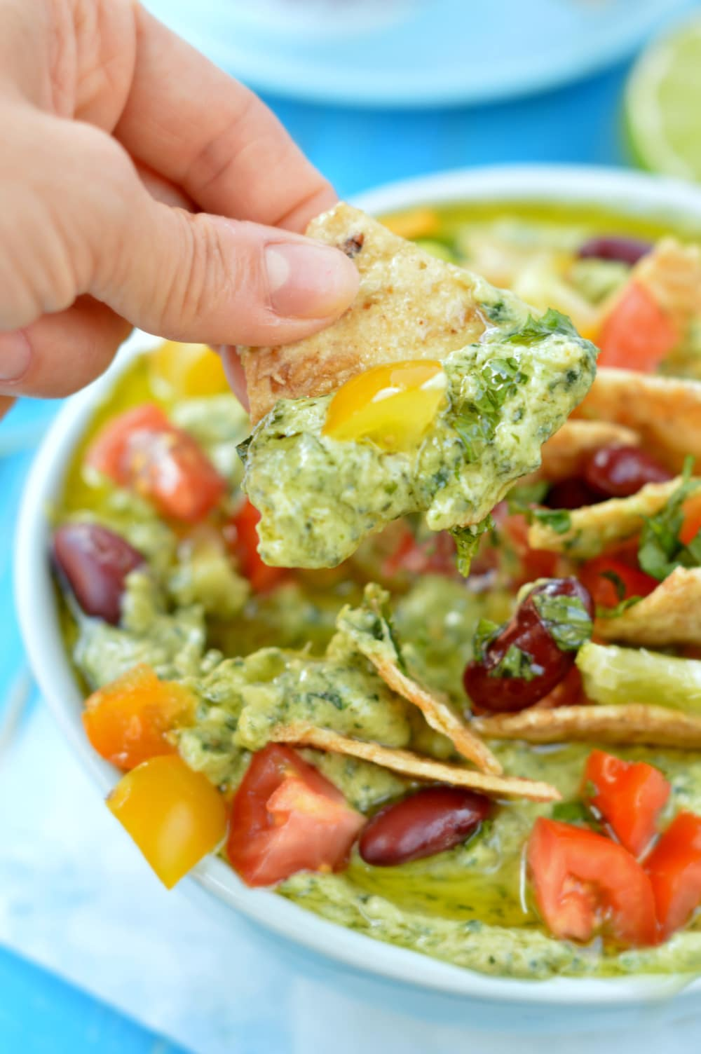 creamy spinach dip with salsa