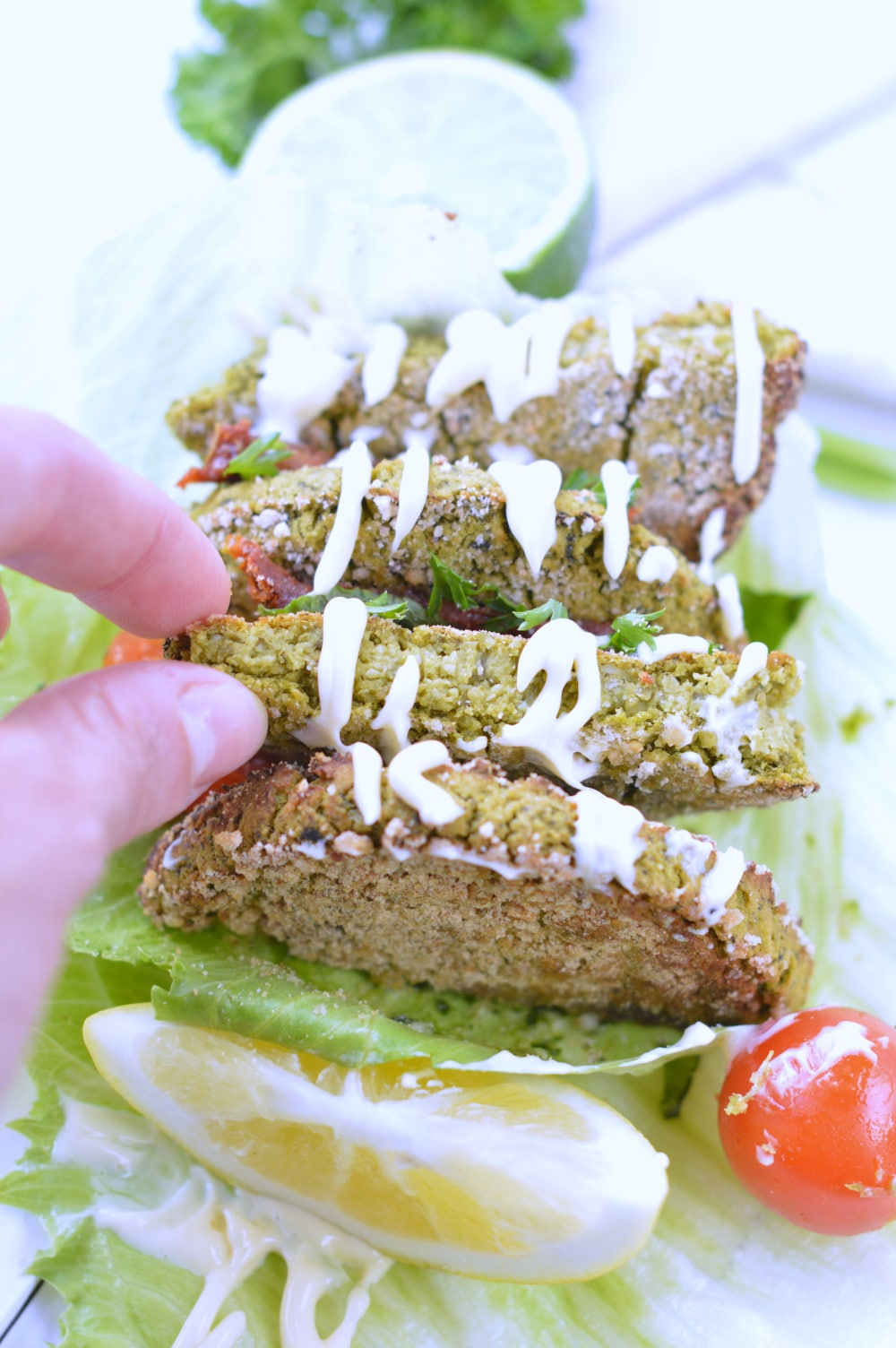easy falafel with spinach and herbs