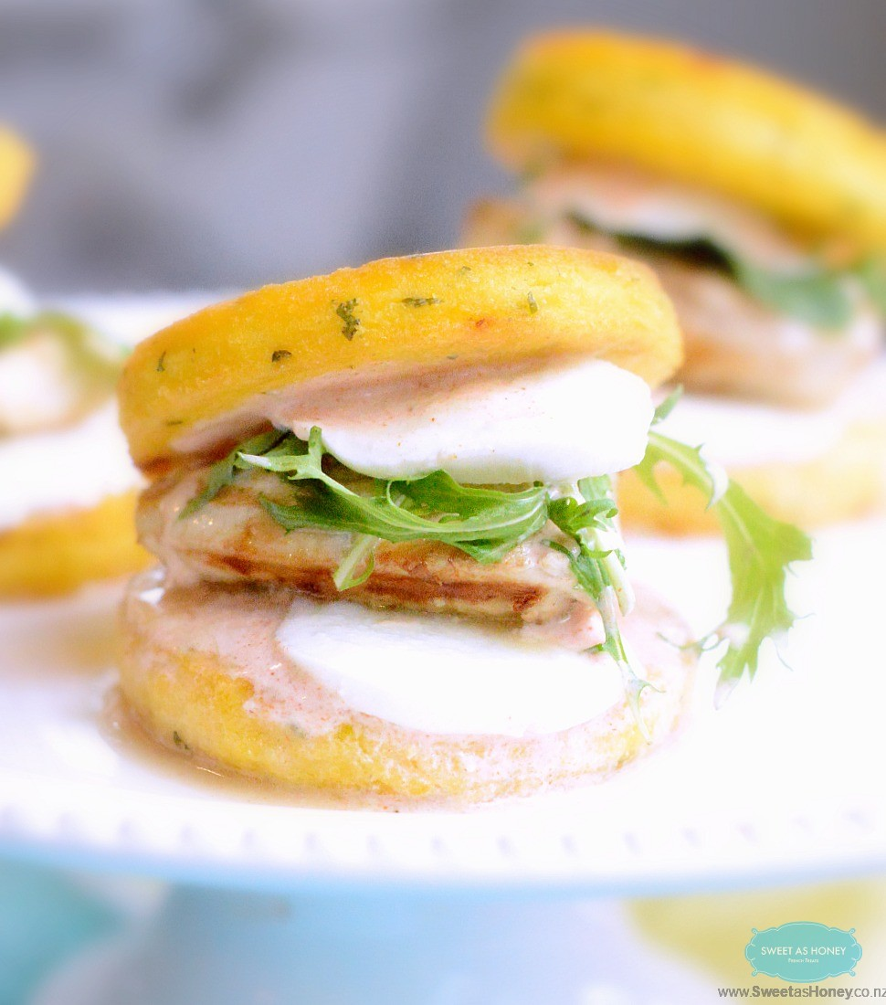 Polenta Burger Buns Stuffed with Grilled Chicken and Mozarella
