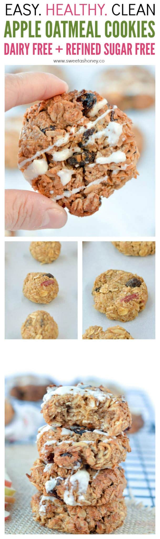 Heallthy Apple oatmeal cookies are the best healthy breakfast cookies. An easy recipe with no flour, no refined sugar and 100% natural ingredients. A great clean cookie, soft, moist with a delicious cinnamon apple flavor.