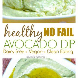 Dairy free Avocado Dip | Vegan Avocado Dip | Easy Avocado Dip Recipe | Clean eating dip