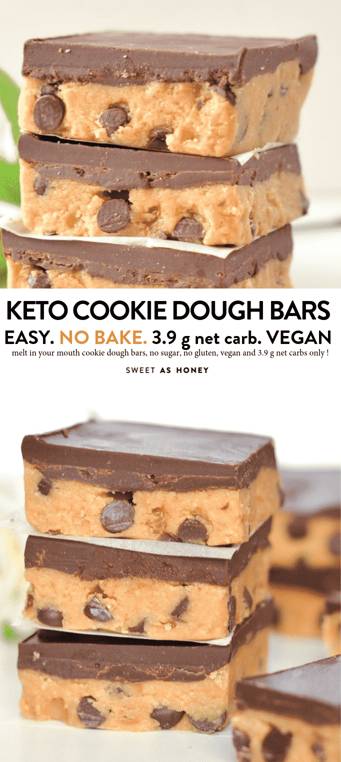 Keto Cookie dough bars no bake healthy peanut butter chocolate chips bars with only 5 ingredients. 100% keto + low carb + sugar free + gluten free and vegan. #keto #ketobars #ketocookies #Lowcarb #vegan #nobakerecipes #nobake #cookiedough
