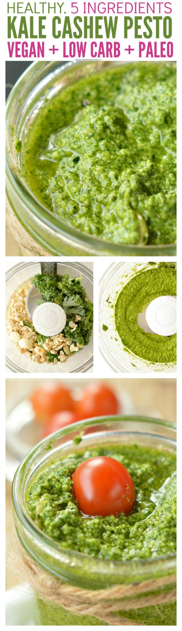 Cashew Pesto Vegan recipe with basil, kale or spinach, olive oil and garlic. A delicious dairy free pesto recipe easy to make. Paleo, gluten free.