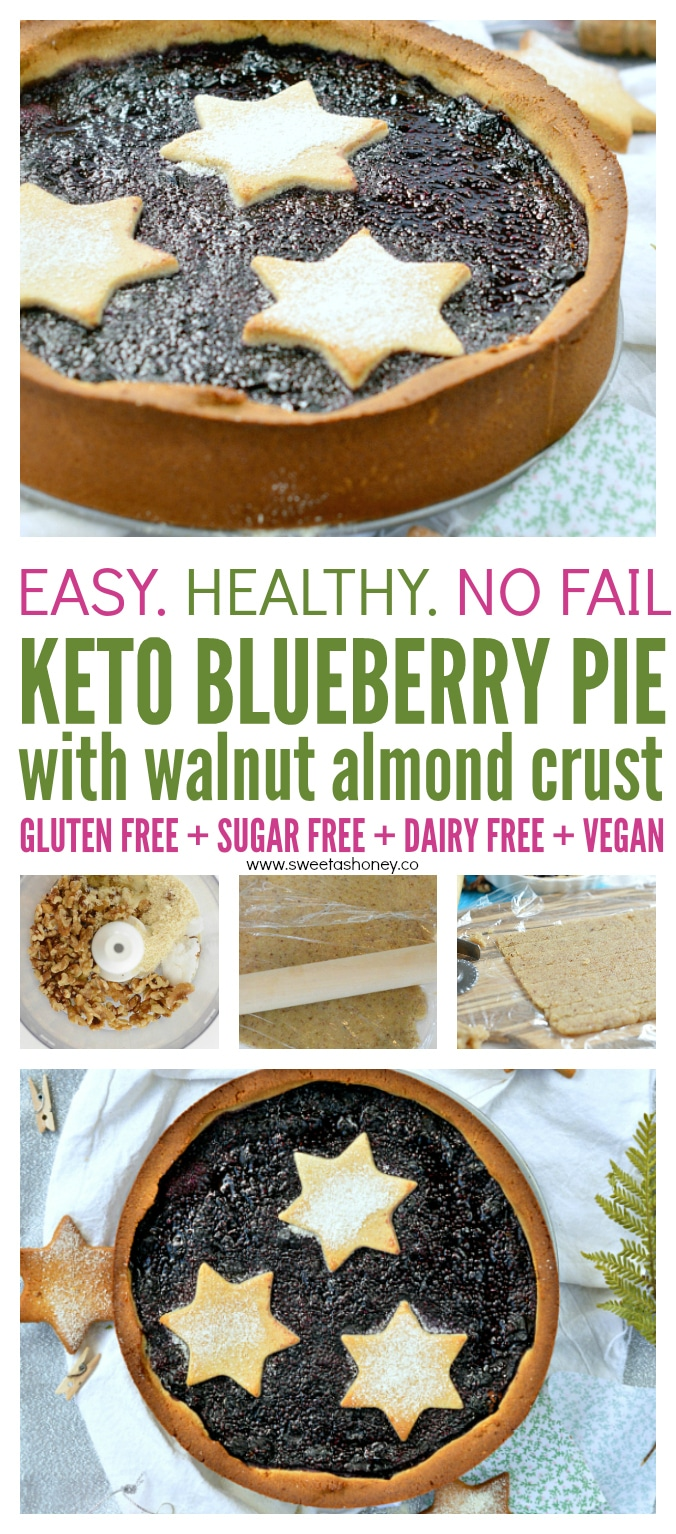 Keto blueberry pie with chia jam