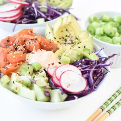 keto poke bowl with salmon