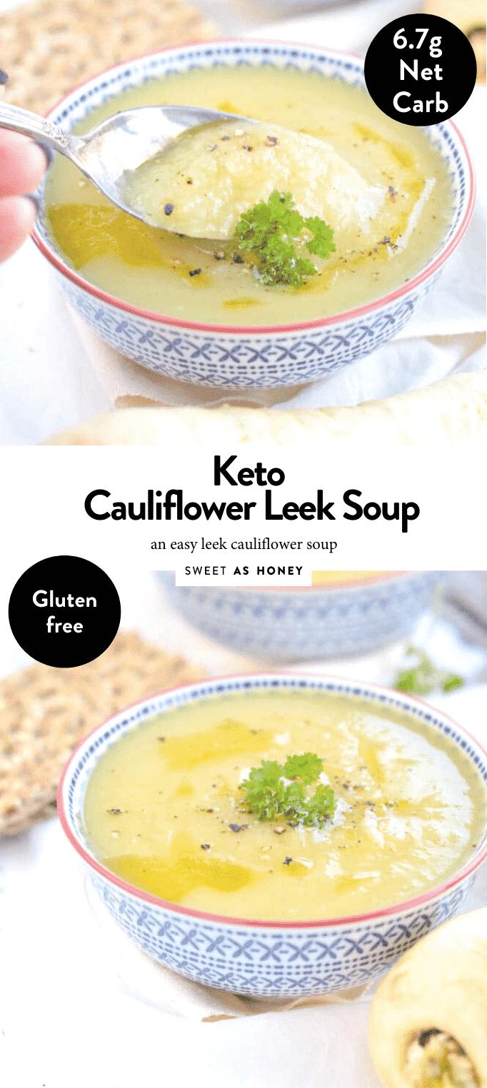 Keto Cauliflower Leek Soup #cauliflowersoup #ketosoup #lowcarbsoup #leeksoup #leek #healthysoup #easysoup #ketomeals #ketodinner