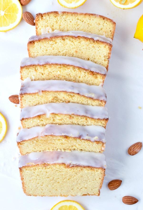keto lemon pound cake slices