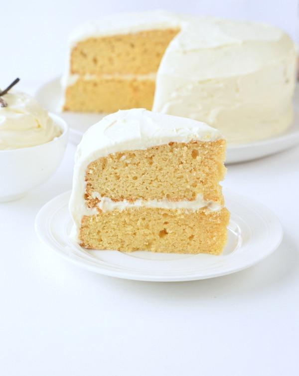 Keto Vanilla Birthday Cake on a dessert place