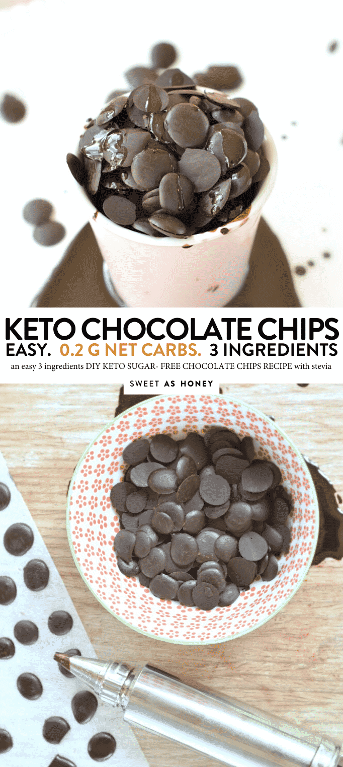 KETO CHOCOLATE CHIPS with cocoa powder #3ingredients #keto #chocoaltechips #sugarfree #lowcarb #Vegan #dairyfree #paleo #chips